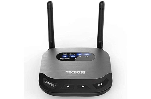 3. TECBOSS Bluetooth Transmitter Receiver, Home Stereo with HD & Bluetooth 5.0