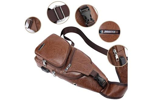 4. JUMO CYLY Men's Leather Sling Bag