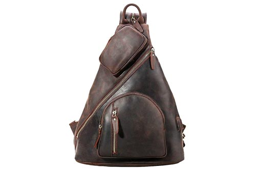 7. Tiding Men's Leather Sling Bag with USB Charging Port
