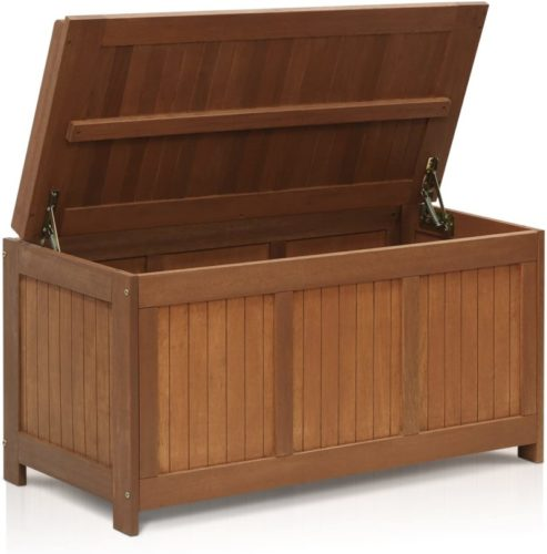 #9. Furinno Tioman Natural Outdoor Storage Benches