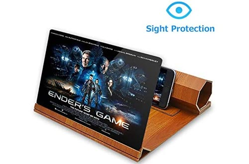 9. ORETECH Screen Magnifier, Wooden Phone Holder Stand with 3D Screen Magnifying