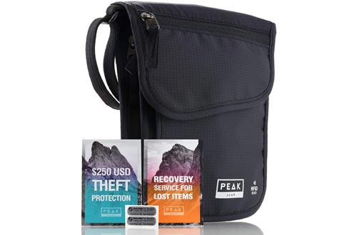 9. Peak Gear RFID Neck Wallet - Theft Insurance and Global Lost & Found Service