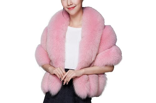 8. Caracilia Women Luxury Faux Pink Fur Coat