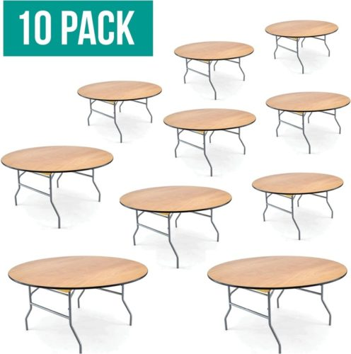 . EventStable Set of 10 Wood Folding Table