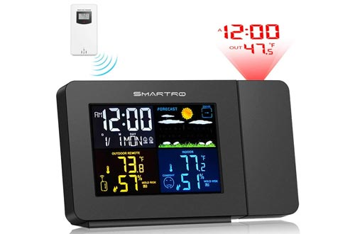 2. SMARTRO Projection Alarm Clock Weather Station