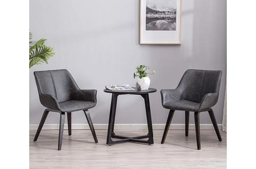 3. YEEFY Charcoal Leather Dining Room Chairs