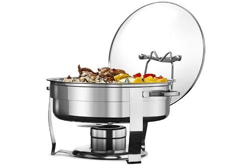 7. Stainless Steel Chafing Dish with Glass Lid by Kook