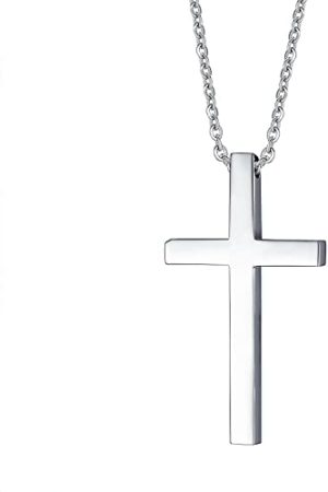 Reve Simple Stainless Steel Silver Tone Cross Pendant Necklace