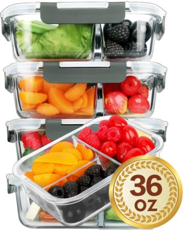 [5-Pack]Glass Meal Prep Containers
