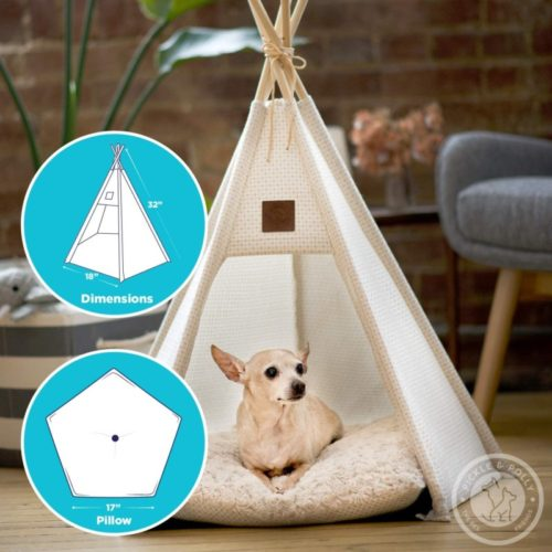 13. Pickle & Polly Cosy Washable Small Pet Tent and Teepee Tent with Durable Fabric for Dogs and Cats