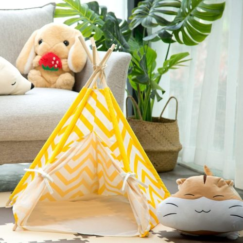 15. Samincom Pet Tent with Cushion and Canvas Tipi Wood Fold Away Small Tent, Teepee Tent for Small Animals