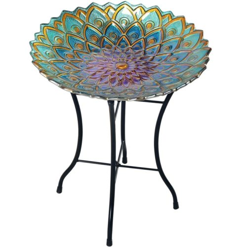2. Peaktop Hand-Painted MosaicBeautiful Glass Flower fusion Bird Bath Bowl Fountain for Outdoor Garden