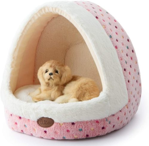 4. Tofern Colourful Dotted and Stripped Small Tent with Washable, Non Slip Pet Tent