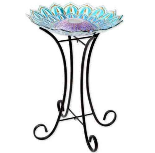 6. Bits and Pieces Solar Metal Stand Beautiful Glass Bird Bath Bowl for Garden