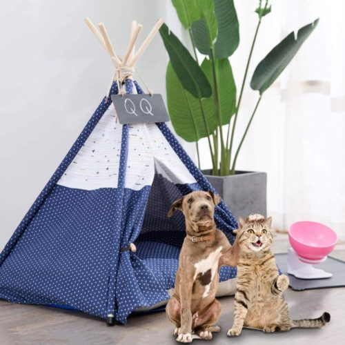 8. Arkmiido Pet Tent for Dogs and Cats with Cushions and Black Board, Top Rated Luxery Dog Tent Bed