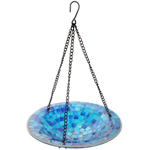 9. Lily's Home Colorful Hanging Beautiful Glass Bird Bath Bowl