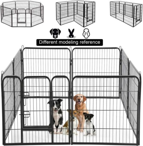 BMS Extra Large Pet Playpen Fence Indoor Outdoor Back or Front Yard Fence with Door