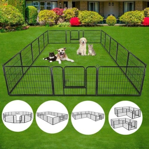 S Afstar Portable Folding Exercise Metal Puppy Pet Playpen Fence with Gate Indoor and Outdoor
