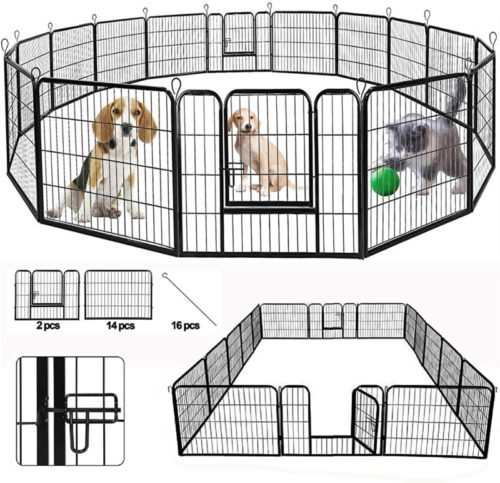 SUNCOO Folding Heavy-Duty Large Metal Exercise Pet Playpen Fence Indoor and Outdoor Anti-Rust Barrier Kennels