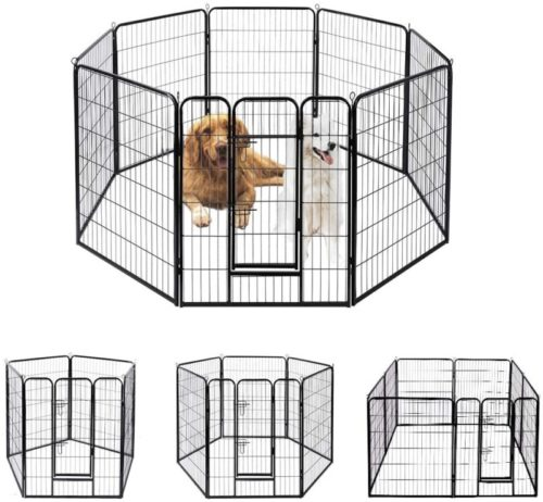 VIVOHome Foldable Heavy Duty Metal Indoor-Outdoor Exercise Pet Playpen Fence Barrier Kennel