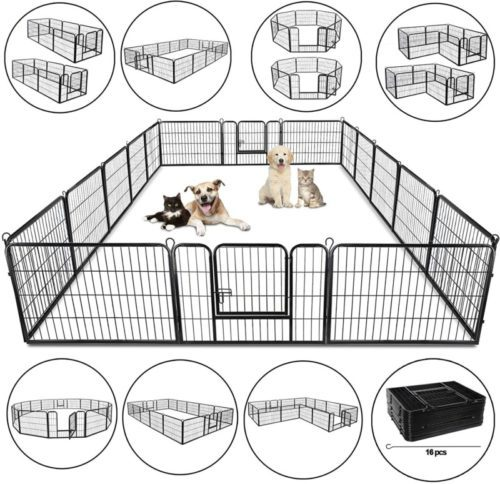 Zeny Foldable Metal Exercise Pet Playpen Fence Barrier Kennel