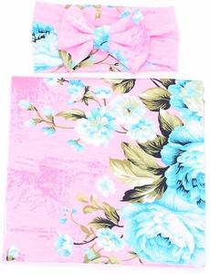 1. Galabloomer Newborn Flower Print Baby Swaddle Receiving Blankets