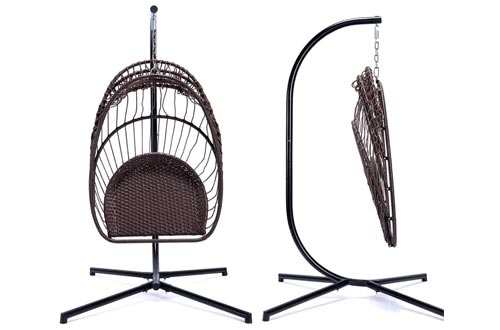 5. NICESOUL Brown Wicker Hanging Egg Chair