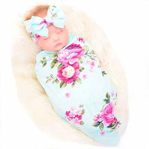7. Galabloomer Newborn Receiving Blanket Headband Set Flower Print