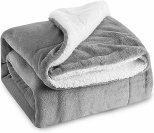8. BEDSURE Sherpa Fleece Blanket Throw Size Grey