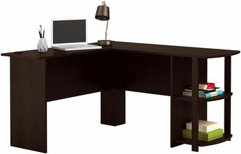 #1 Office L-Shaped Compact Desk with 2 Shelves