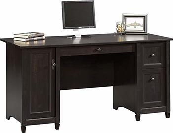 #4. Sauder Edge Water Computer Desk, Estate Black finish
