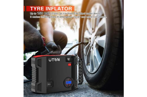 4. UTRAI Air Compressor with Emergency Light LCD Screen