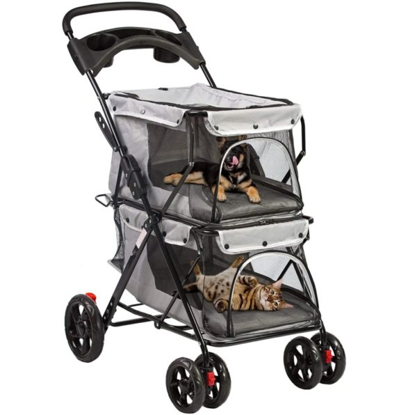 Lonabr Foldable Double Cat Stroller Cage