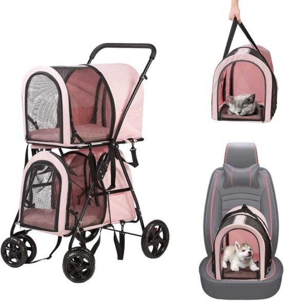 Luckeyermore Cute Double Pet Stroller for Dogs and Cats