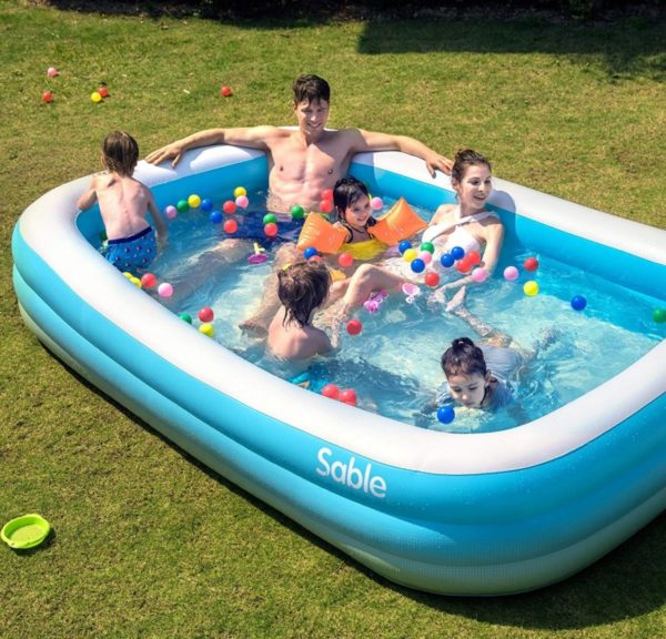 Sable Full Size Family Inflatable Hard Plastic Kiddie Pool