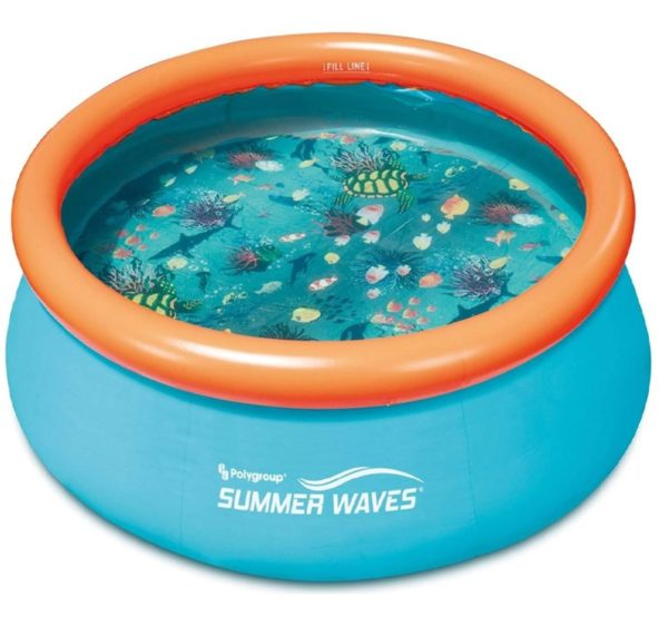 Summer Waves Inflatable Hard Plastic Kiddie Pool