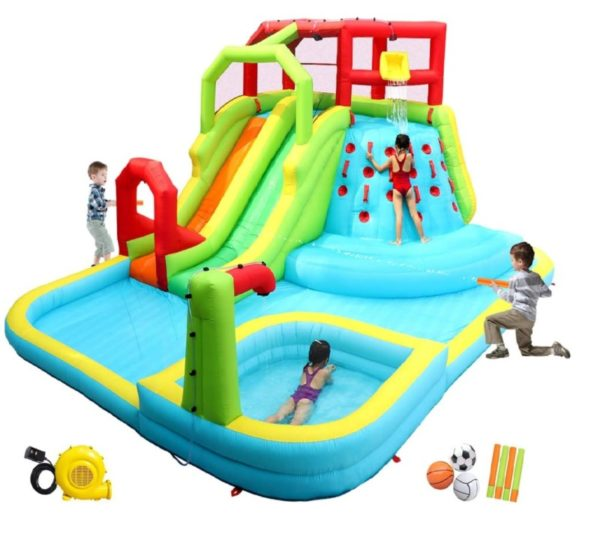 WELLFUNTIME Inflatable Hard Plastic Kiddie Pool Slide Park